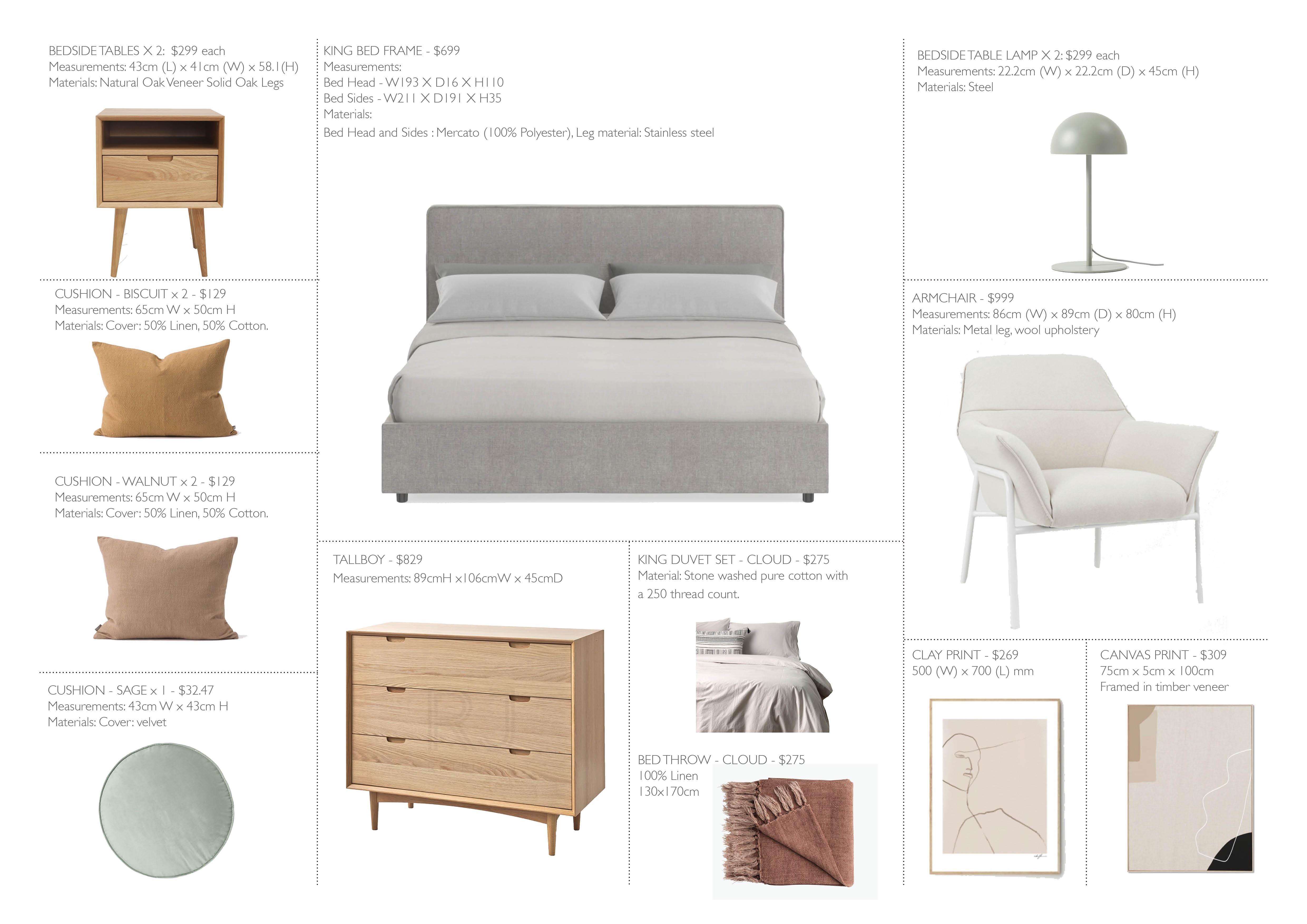 Final Shopping List for Alana's Master Bedroom