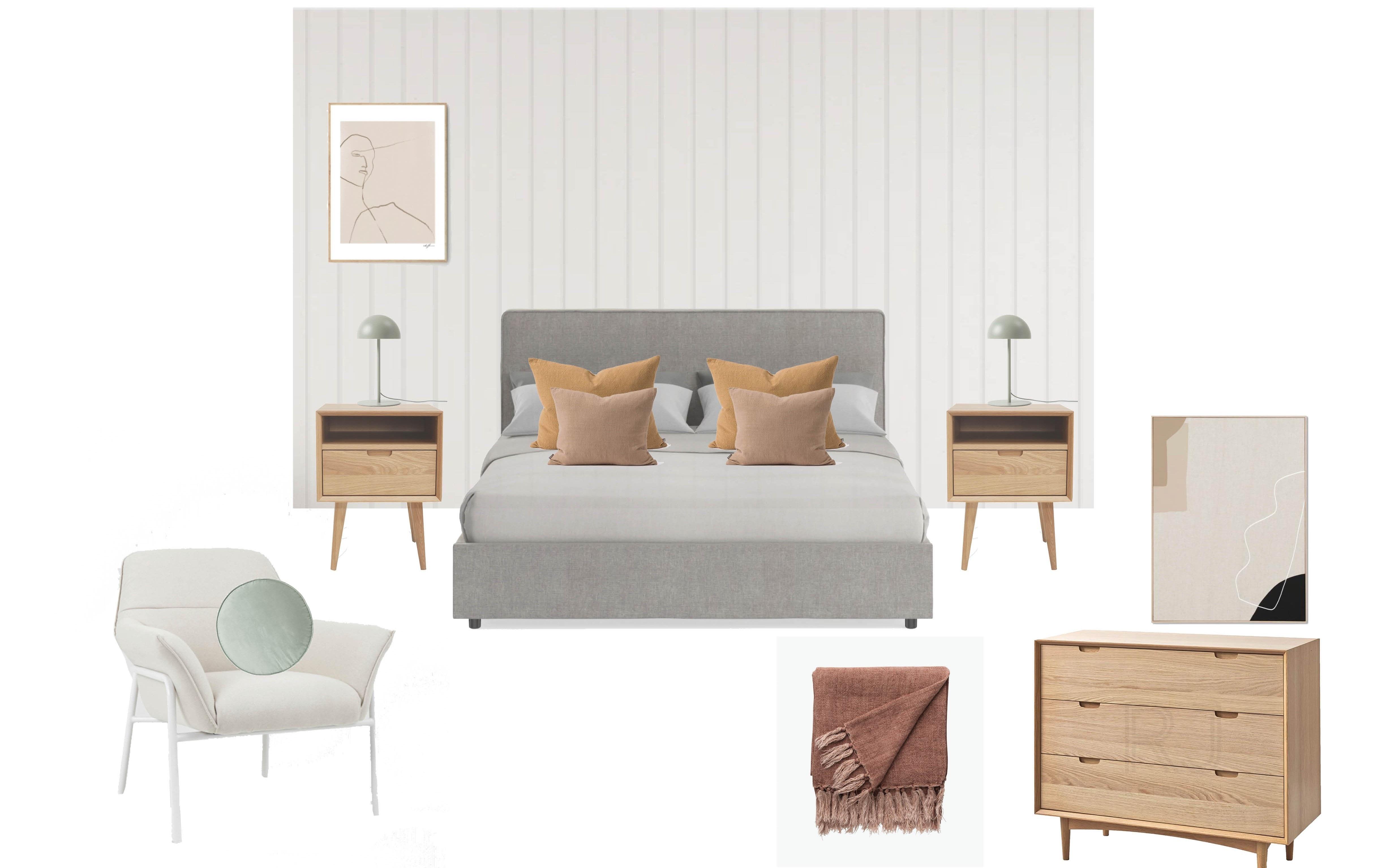 Final visualisation board for Alana's Master Bedroom