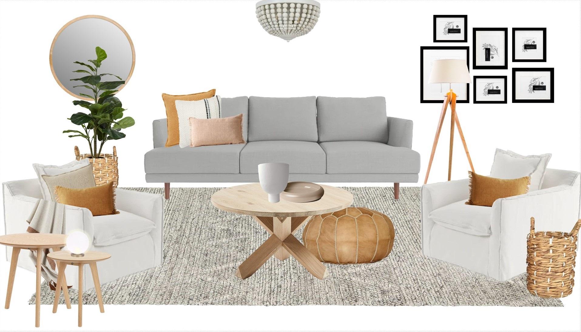 Final visualisation board for Judea's Living Room.